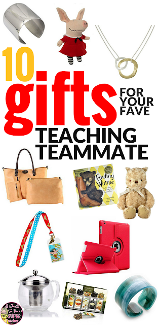 Looking for the perfect gift idea for your favorite elementary teacher or teaching teammate? Check out these teacher gift ideas for Christmas, back to school, birthdays, end of the year, teacher appreciation or any time you want to treat your favorite educator to something cute and useful! Even if you're on a budget you can find the perfect present for your favorite teacher in these 10 teacher teammate gift ideas. #teachergifts #christmasgifts #teacherappreciation #giftideas #giftsforher