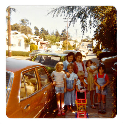 Natalie Pavloff Powell, Chrissy Myers Austin, Yoorah Lee, Heather Clare Horne Clark, and Tanya Pavloff Rockwell terrorizing Ramona Avenue in Piedmont in 1980