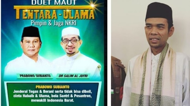 Ustaz Abdul Somad-Salim Segaf Saling Tunjuk Jadi Cawapres, Tifatul Sembiring: Politik yang Santun
