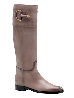0f79bdab6dd Gucci Classic Horsebit and Brogue tall flat boot. -Hand stained grey  leather and antique gold hardware.  1500.00