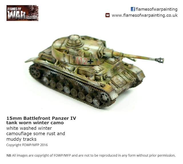 15mm Flames of War Battlefront PanzerIV with winter camo. Painted by Flames of War Painting