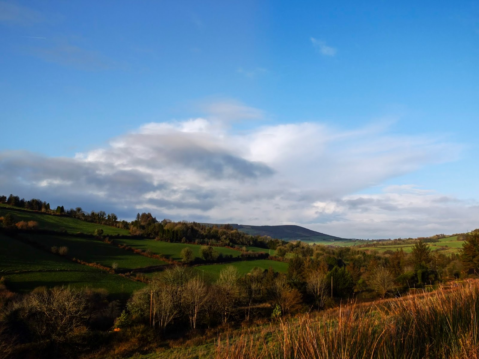 Sun shining in the Boggeragh Mountains in North Cork.
