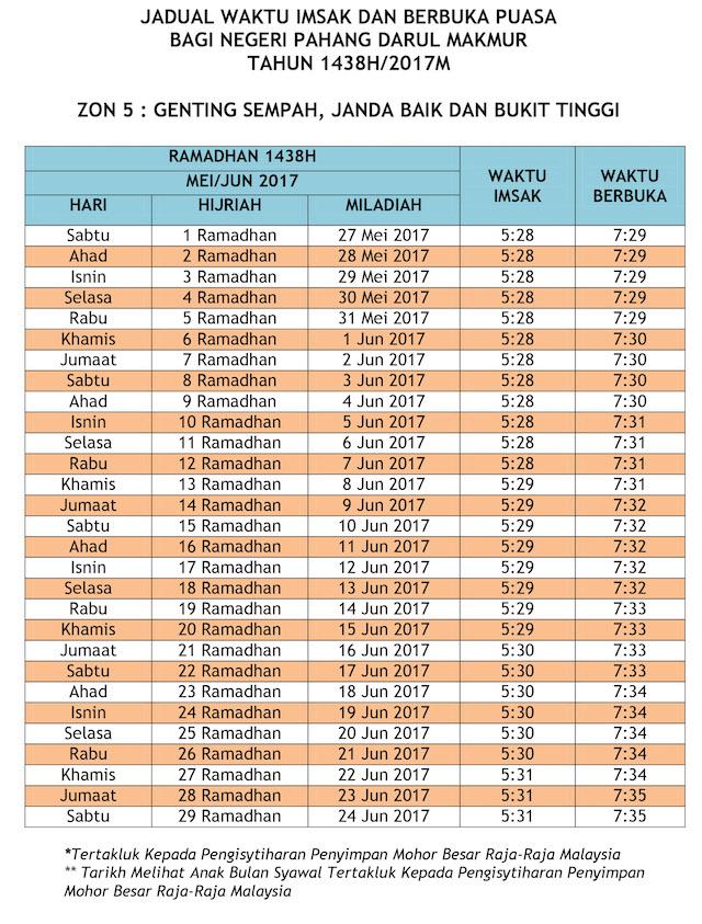 Jadual Waktu Buka Puasa dan Imsak 2017 - Pahang