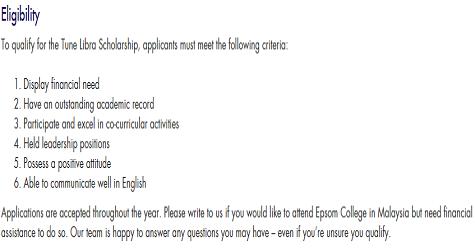 Borang permohonan biasiswa Tune Libra untuk belajar di Epsom College