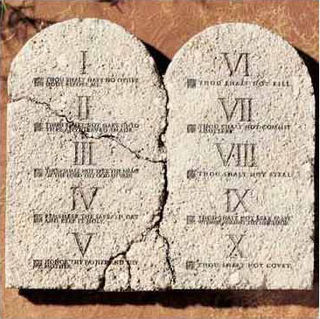 Ten commandments which the god gave to moses