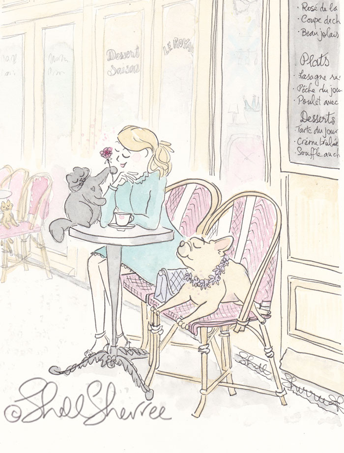 Paris Cafe Coffee with Rosy Black Cat and French Bulldog illustration  © Shell Sherree all rights reserved