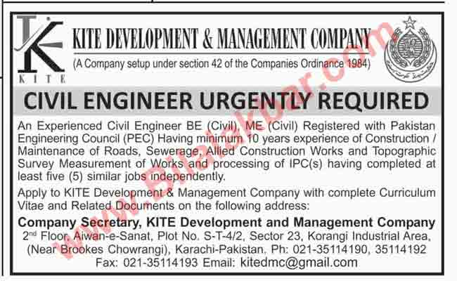 Jobs for Civil Engineer Urgently Required Kite Development & Management Company