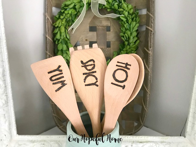 engraved wooden spoon spatula cooking kitchen mason jar boxwood wreath