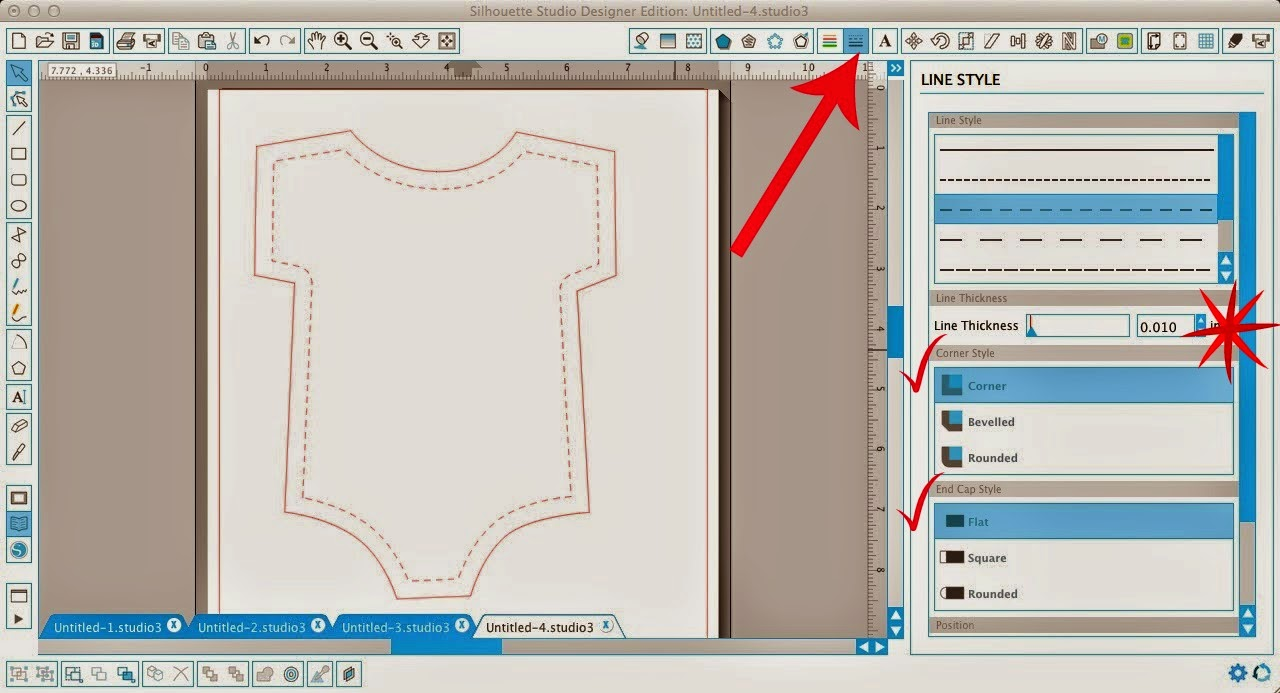 Faux stitching, Silhouette Studio, Silhouette tutorial, internal offset, line style