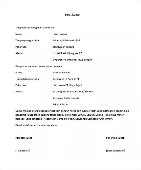 Surat kuasa pembelian tanah