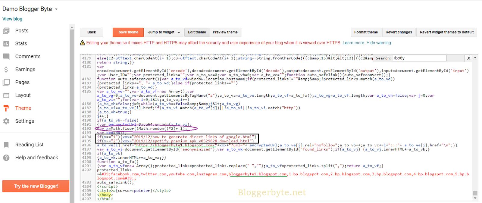 How to  make a Random Posts Safelink on Main Blog