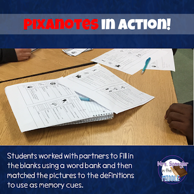 Pixanotes are perfect for introducing new concept vocabulary!
