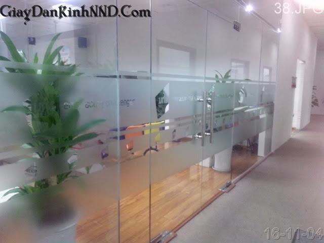 Kết hợp giữa cắt tên công ty với dán kính mờ cho cửa ra vào