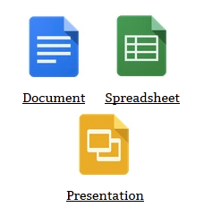 Image of Google drive gadget with excel , doc and PPT icons