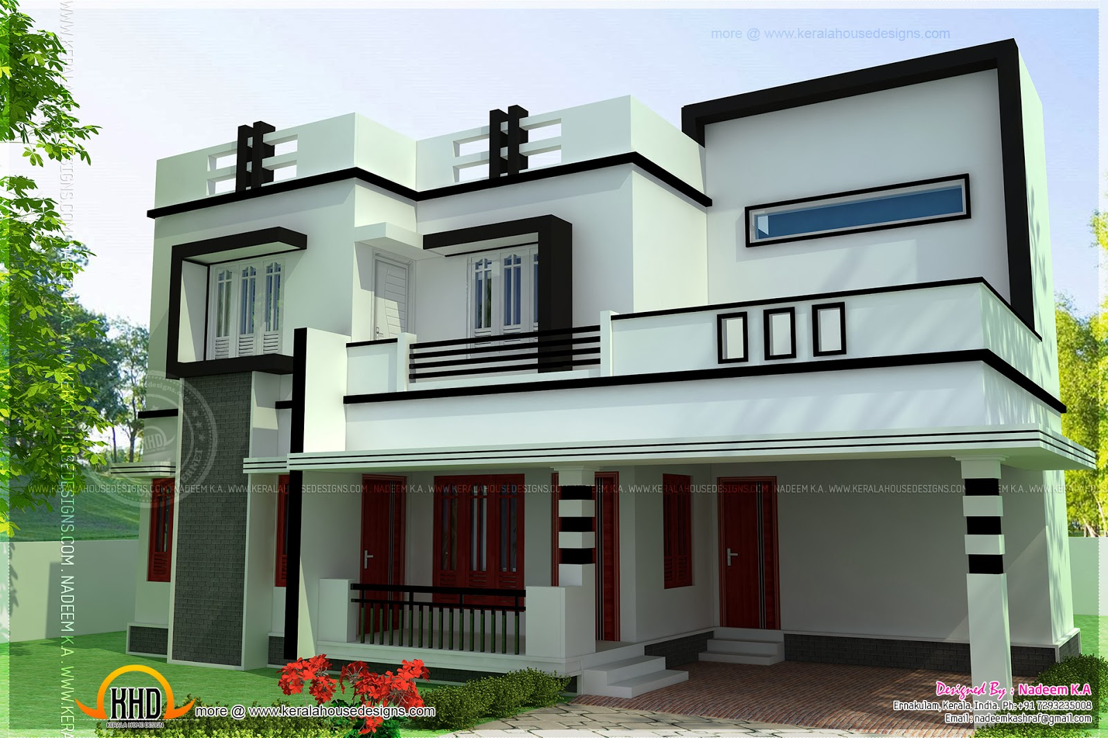 Flat roof 4 bedroom modern house kerala home design and for Four bedroom flat