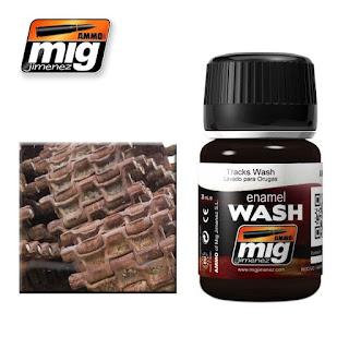 AMMO of Mig Jimenez Tracks Wash for Dark Rust Effects (Enamel, 35ml)