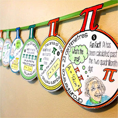 Image of a Pi Day math pennant activity with metric units