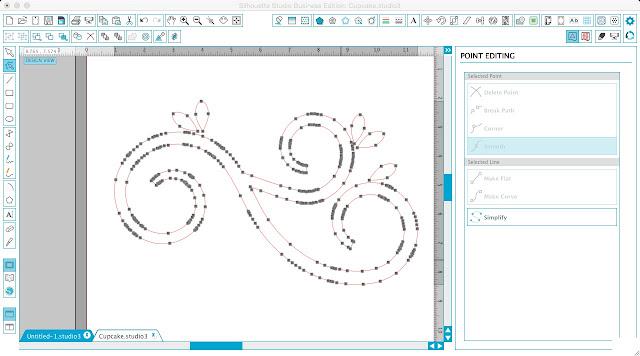 Silhouette tutorial, Silhouette Studio screenshot, multiple edit points