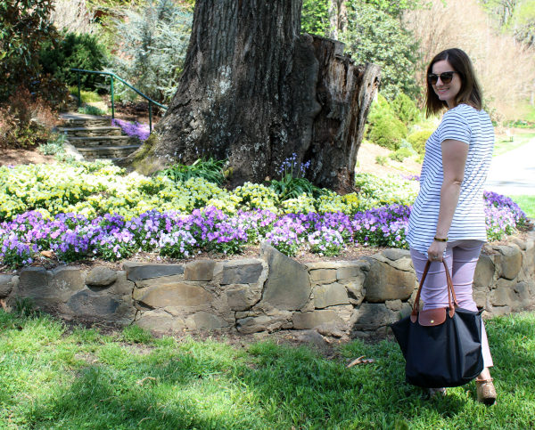 old navy pixie pants, long champ bag, garden