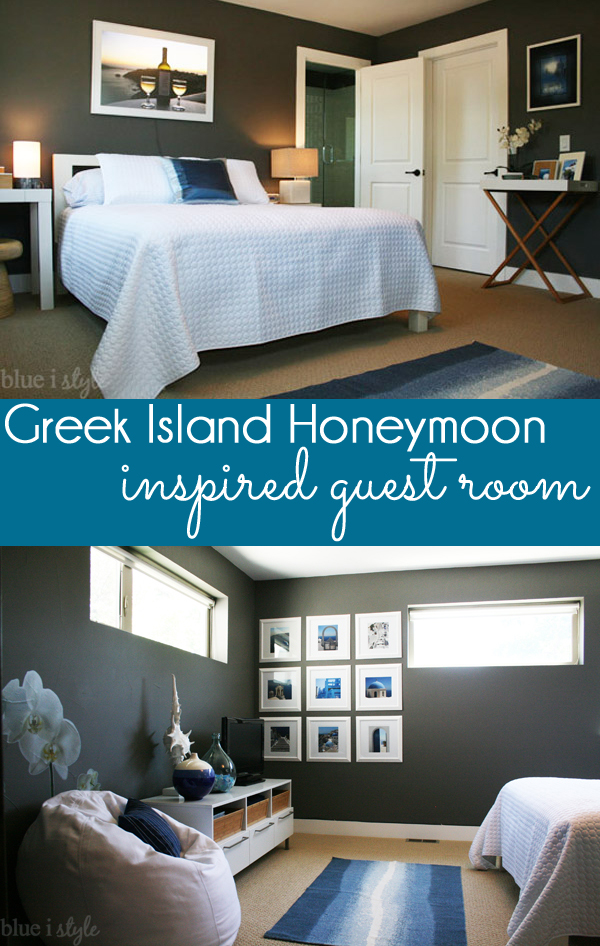 Greek Island Honeymoon Inspired Guest Room - inspired by travels in Santorini and Mykonos