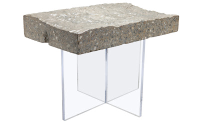 Mesa de piedra y acrílico
