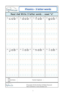 phonics worksheets short vowel a