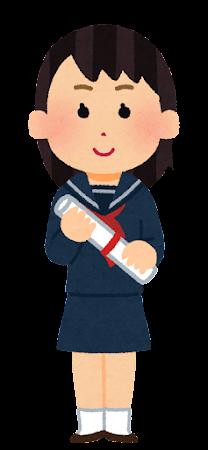 卒業生のイラスト(セーラー服・女子)