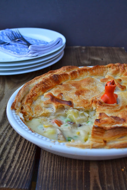 Cheesey Vegetable Puff Pie in a pie dish