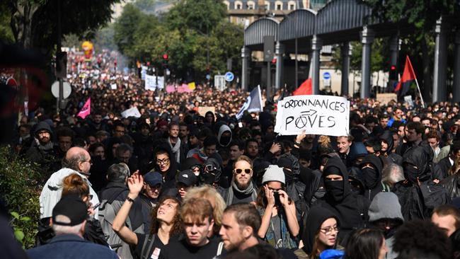 France hit by labor protests against President Emmanuel Macron's policies