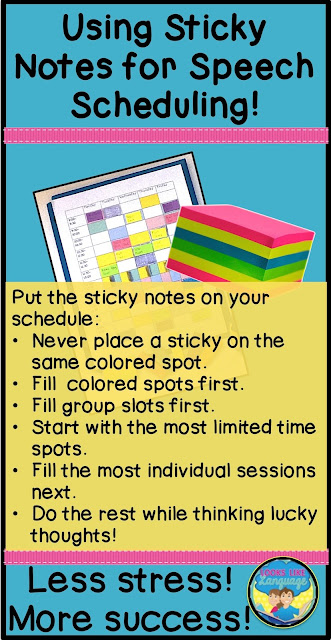 Using sticky notes to make speech schedules with less stress and more success! Looks Like Language
