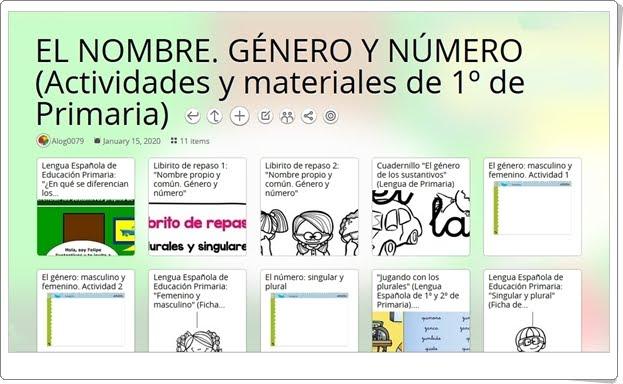 """11 actividades y materiales sobre """"EL NOMBRE. GÉNERO Y NÚMERO"""" en 1º de Primaria"""