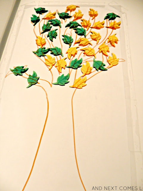Fall inspired light table activity for toddlers and preschoolers from And Next Comes L