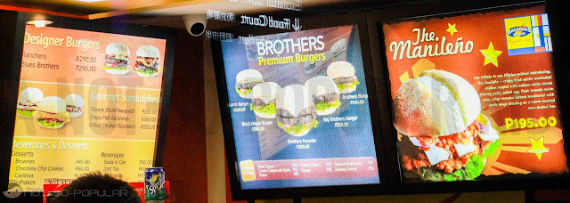 Brothers Burger Complete Menu in Lucky Chinatown Mall, Binondo