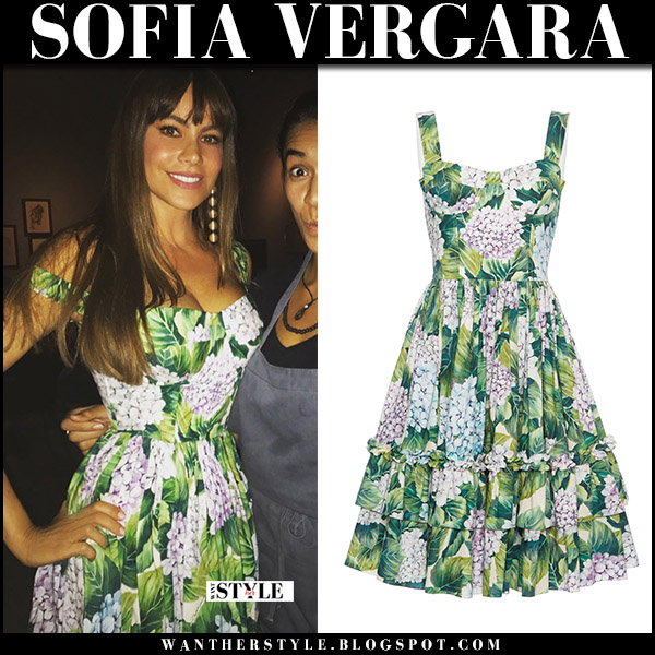 Sofia Vergara in green hydrangea floral print dress dolce gabbana september 2 2017