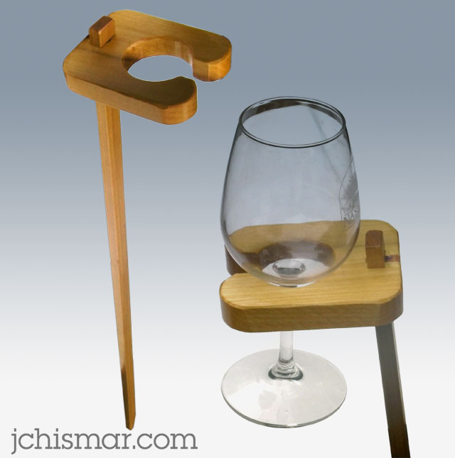 yard stake wine glass holster for the hammock
