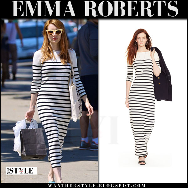 Emma Roberts in striped maxi dress ralph lauren what she wore streetstyle