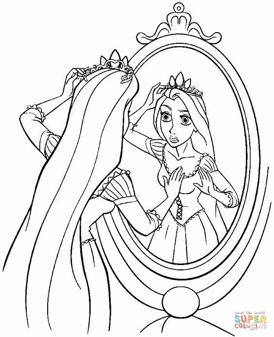 Tranh tô màu nàng công chúa tóc mây soi gương
