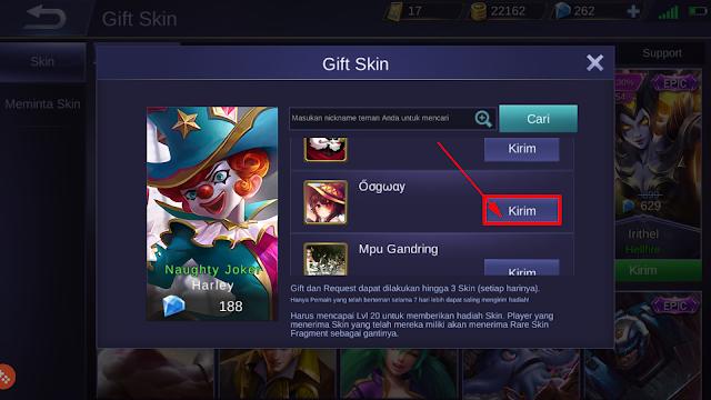 Cara Mengirim (Gift) Skin Mobile Legends ke Teman 4