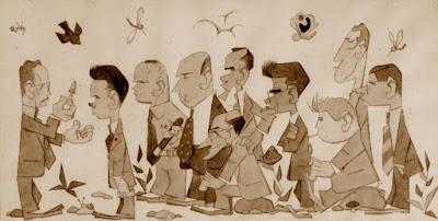 Caricatura de los participantes en el IV Torneo de Ajedrez de Berga 1954