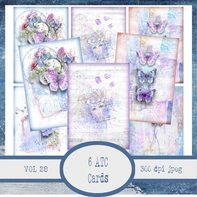 Butterfly Bird Flowers Pastel Digital Collage Sheet 2.5 X 3.5 ATC Sized