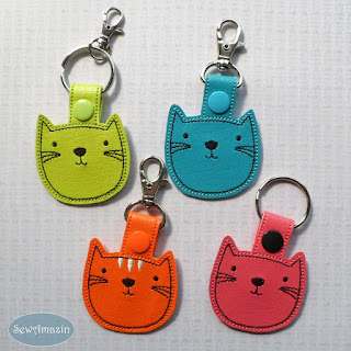 Cute Cat Key Chain, Green, Blue, Orange, Pink