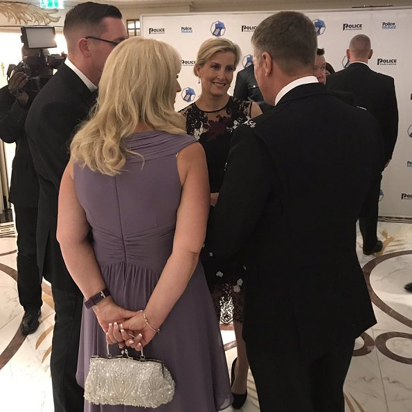 Countess Sophie wore Erdem Kent Floral Lace Satin Dress, LK Bennett Harley pumps in suede. National Police Bravery awards ceremony