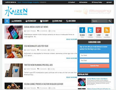 Kaizen Responsive, Modern, Simple, Clean design News, Magazine, Personal blog etc List view Blue, White, Gray Drop down Menu Right Sidebar Awesome Look Social Widget Custom 404 Page ready 2 Columns 3 Columns Footer Blogger Template Free Download