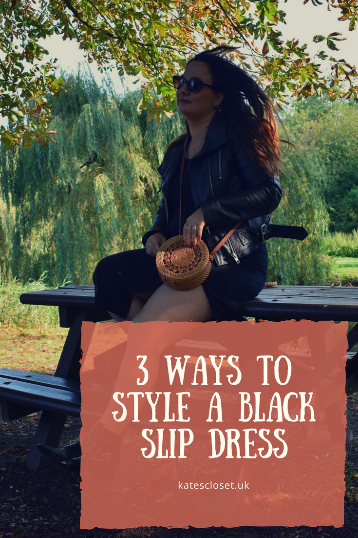 Three ways to style a black slip dress