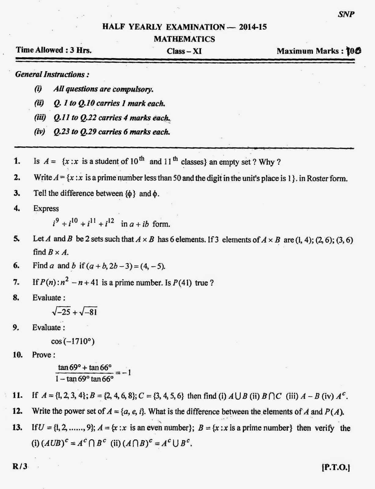 Year 11 General Maths Half Yearly Exam Papers