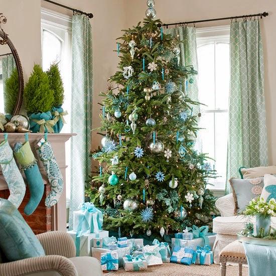 árbol navideño turquesa plata