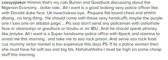Cossy Orjiakor Names Her Cats Buhari And Goodluck