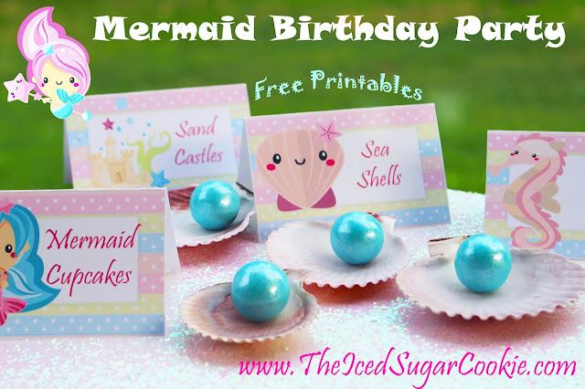 DIY Mermaid Birthday Party- Free Printable Mermaid Food Tent Cards -Cupcake Toppers -Banner Garland