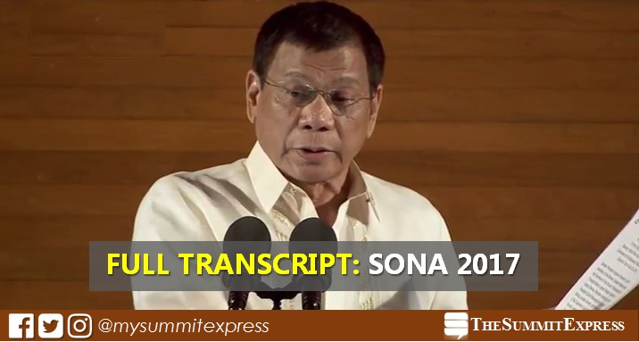 SONA 2017 President Duterte speech full text, transcript (English)