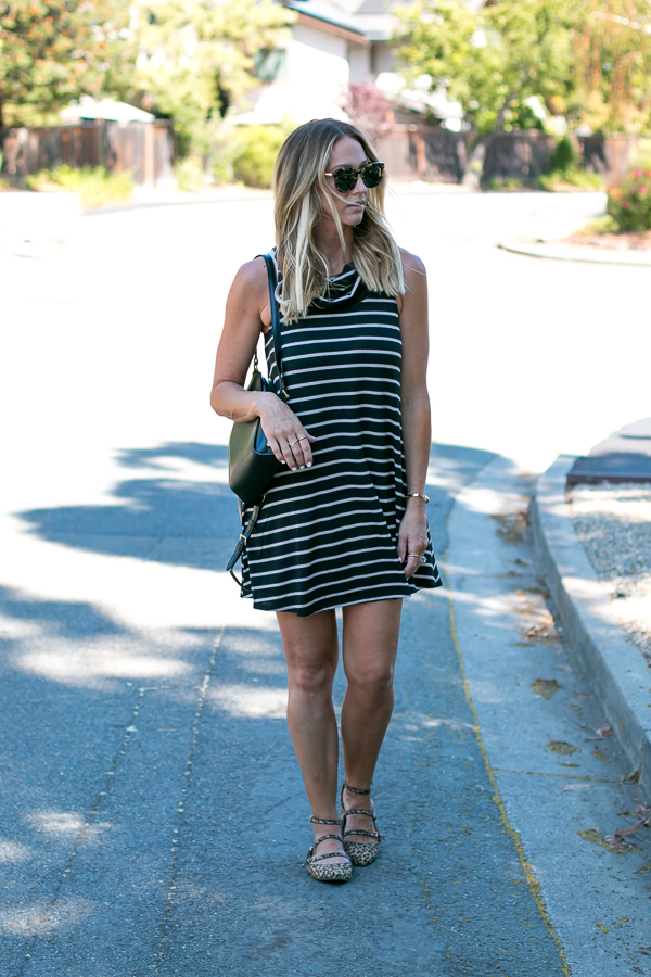 socialite striped cowl neck dress